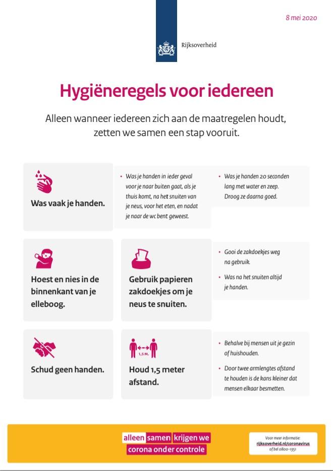 Poster hygieneregels voor iedereen rijksoverheid